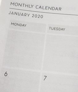 Closeup view of January 2020 page of a planner